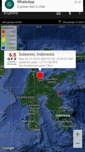 Update Gempa 6,6 SR di Poso