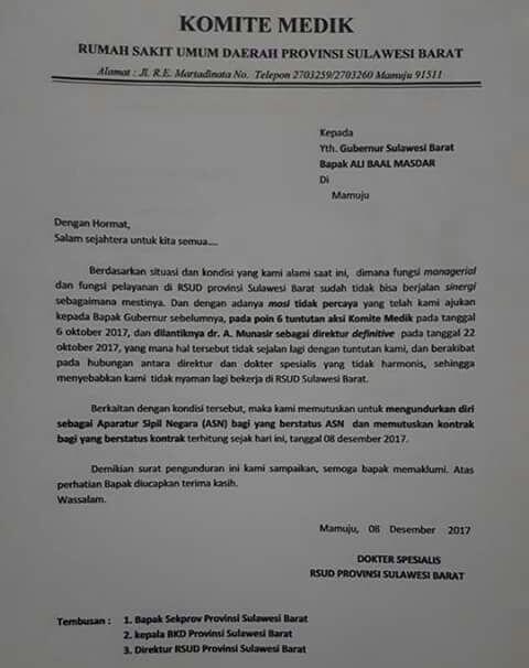 Surat Pernyataan Pengunduran Diri 17 Dokter Spesialis Rs