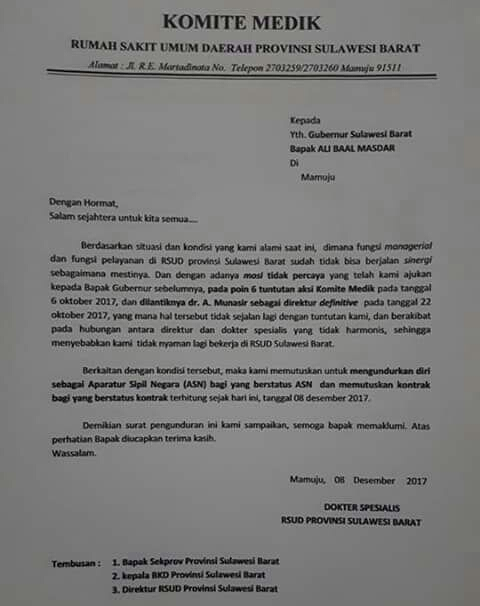 Surat Pernyataan Pengunduran Diri 17 Dokter Spesialis Rs Regional