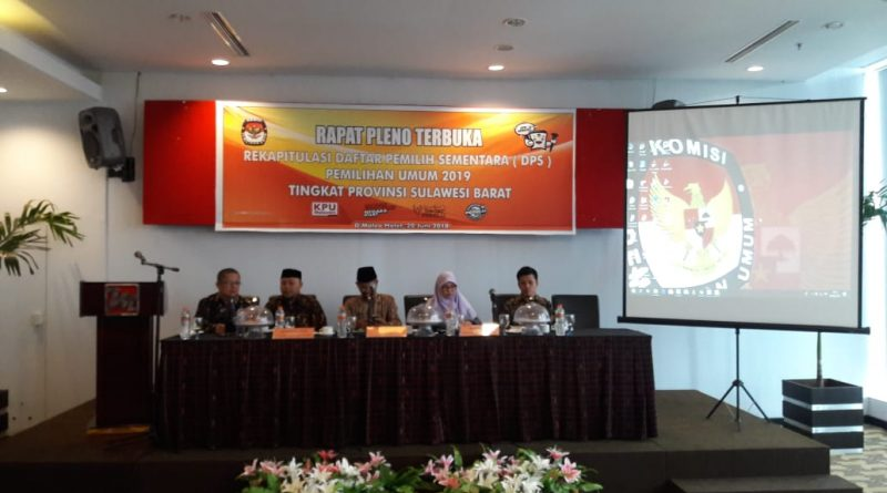 KPU Sulbar Gelar Rapat Pleno Penetapan DPS Pemilu 2019