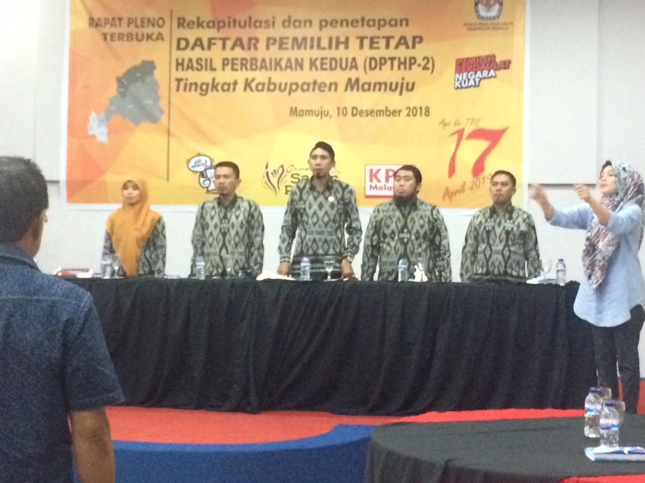 Pleno DPTHP2, Pemilih di Mamuju Bertambah 4.714
