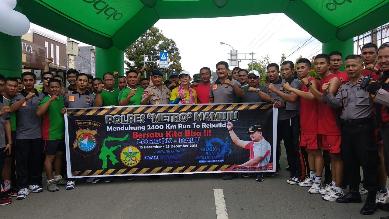 Polres Mamuju Sambut Kedatangan Pelari Ultra Marathon Indonesia.