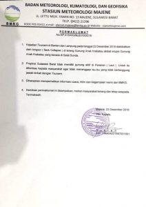 Maklumat BMKG Majene Terkait Isu Bencana Akhir Tahun
