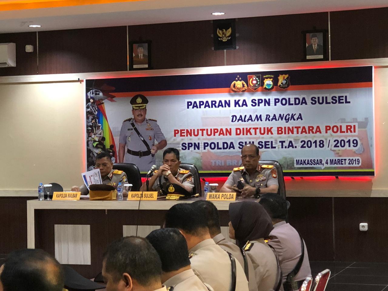 Kapolda Sulbar Hadiri Penutupan Diktukba di SPN Batua Makassar.
