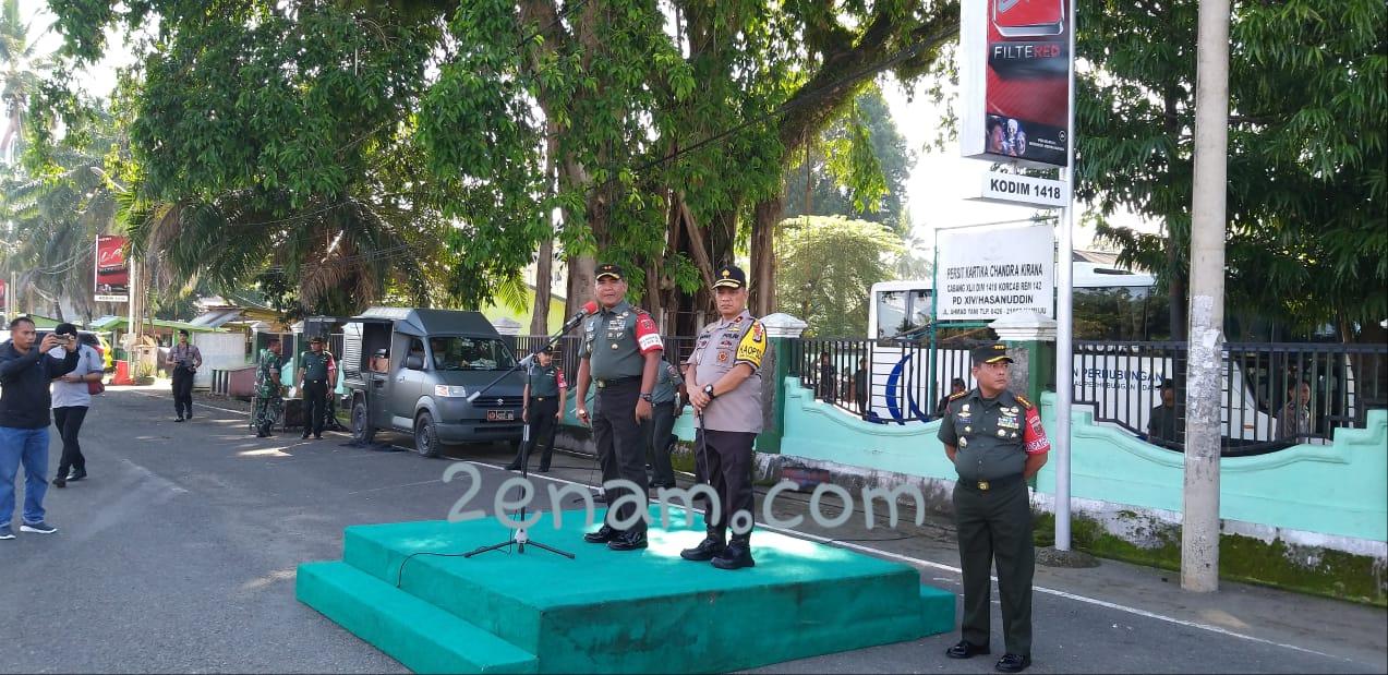 Kapolda Sulbar Hadir Apel Gelar Pasukan Pam VVIP RI 4 di Makodim 1418 Mamuju.