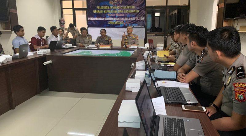 Pelatihan Aplikasi Sislaphar Polda Sulbar Guna Pengembangan Command Center Sops Polri