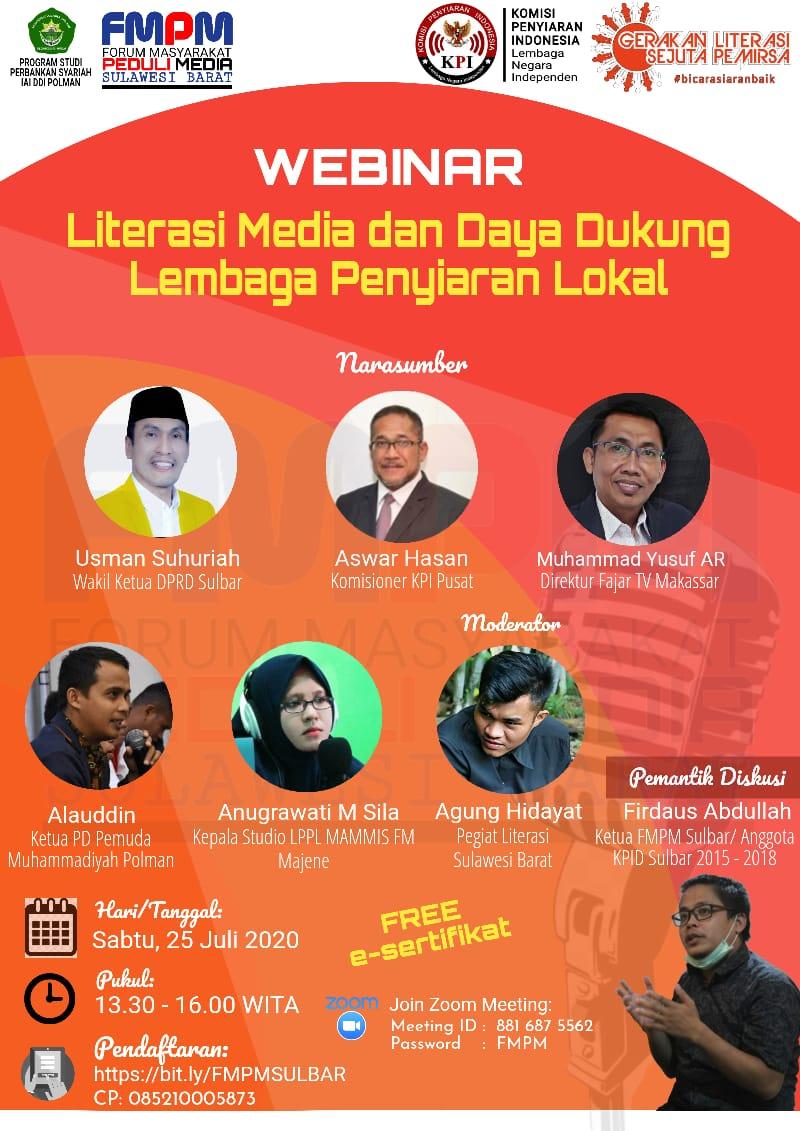 Webinar Literasi Media FMPM Sulbar kerjasama Prodi Perbankan Syariah IAI Polman Hadirkan Pembicara KPI Pusat