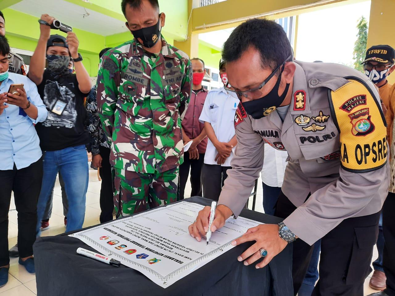 Kapolres Majene Gandeng Seluruh Pihak Kampanyekan Protokol Kesehatan