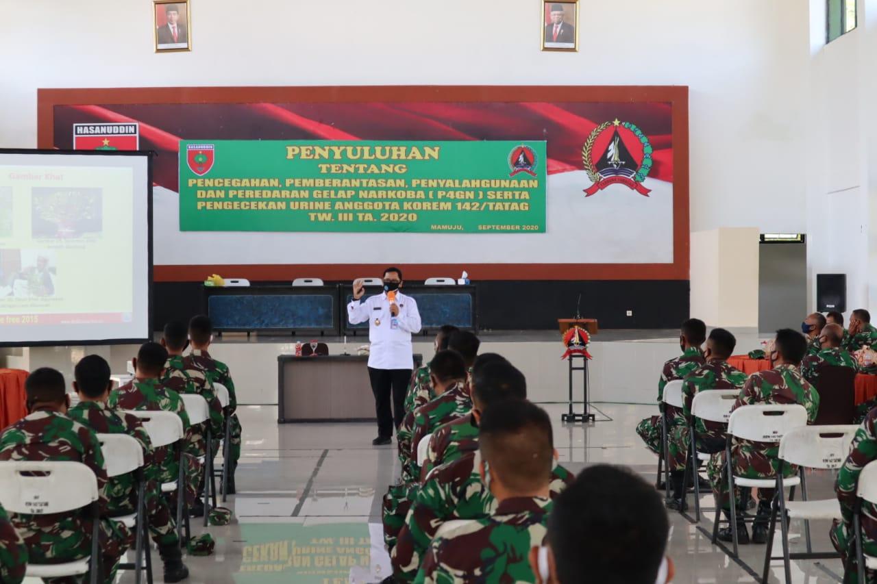 Korem 142/Tatag kerjasama dengan BNNP Sulbar laksanakan P4GN