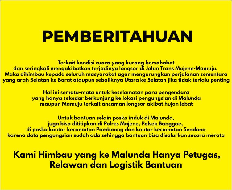 Kabag Ops Minta yang ke Malunda Hanya Petugas, Relawan dan Logistik Bantuan