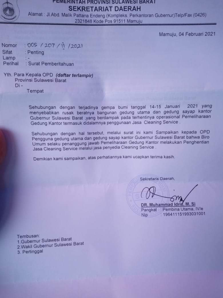 Hatta Kainang Sayangkan Pemecatan Cleaning Service Kantor Gubernur Sulbar