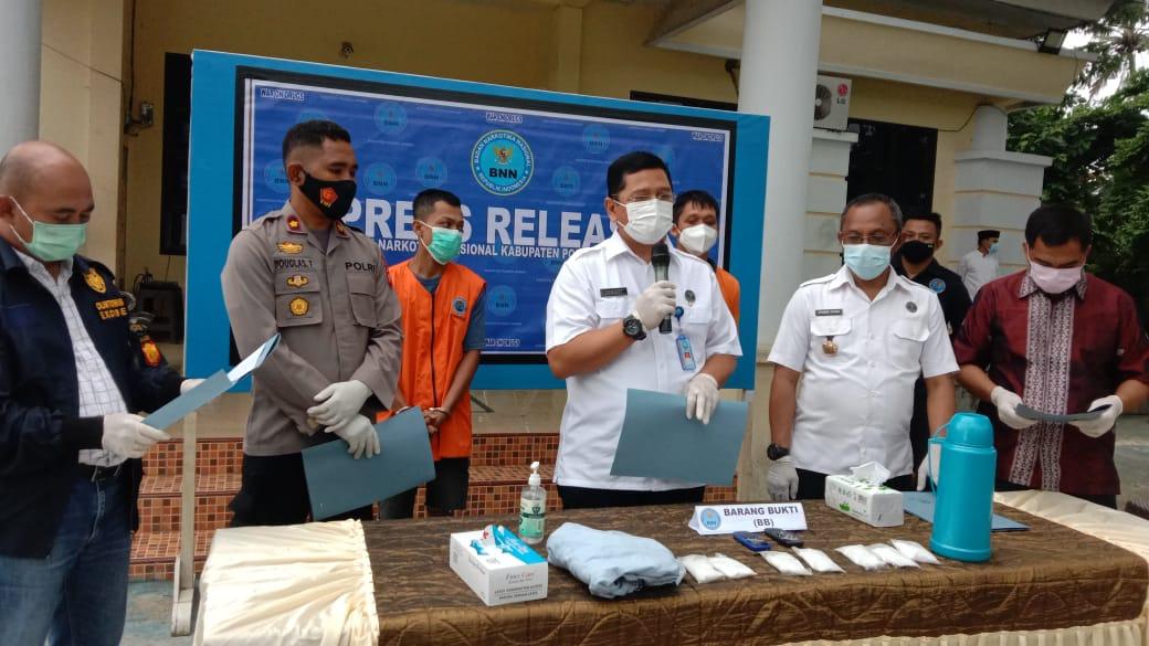 Waka Polres Polman Hadiri Press Release BNN Kabupaten Polman.