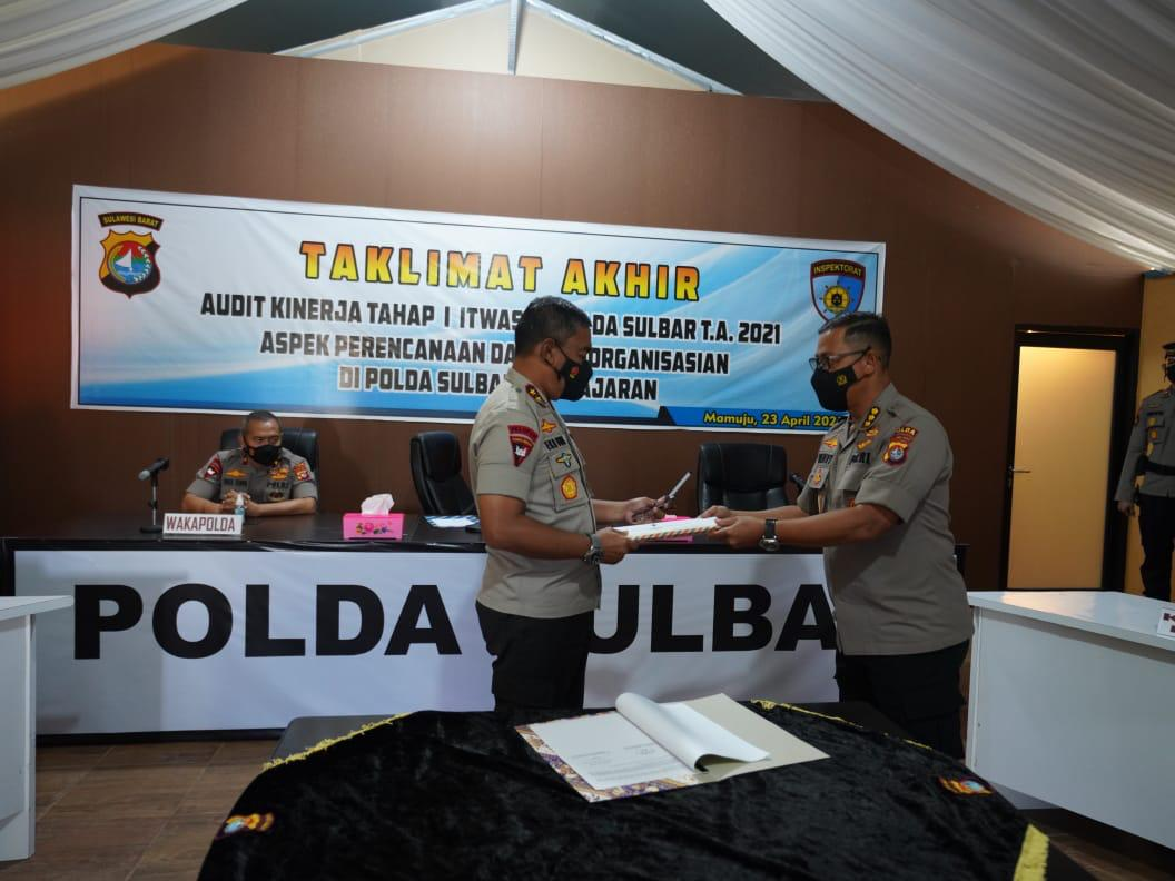Kapolda Pimpin Taklimat Akhir Tahap I TA. 2021 Itwasda Polda Sulbar
